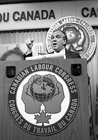 Montreal (Qc) CANADA - Mai 27 1984 - Ed Broadbent, NDP Leader speak at Canadian labour Congress convention.