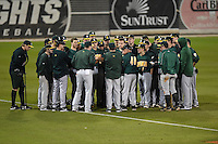 Siena Saints team meeting after the opening game of the season against the UCF Knights on February 13, 2015 at Jay Bergman Field in Orlando, Florida.  UCF defeated Siena 4-1.  (Mike Janes/Four Seam Images)