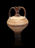 painted Mycenaean two handled jug with a tall neck, Mycenae Chamber Tomb 80, 14th-13th Cent BC.  National Archaeological Museum Athens. Cat no 3228.  Black Background