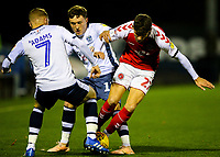 Fleetwood Town's Harrison Biggins vies for possession with Bury's Nicky Adams and Callum Styles<br /> <br /> Photographer Alex Dodd/CameraSport<br /> <br /> The EFL Checkatrade Trophy Group B - Bury v Fleetwood Town - Tuesday 13th November 2018 - Gigg Lane - Bury<br />  <br /> World Copyright &copy; 2018 CameraSport. All rights reserved. 43 Linden Ave. Countesthorpe. Leicester. England. LE8 5PG - Tel: +44 (0) 116 277 4147 - admin@camerasport.com - www.camerasport.com
