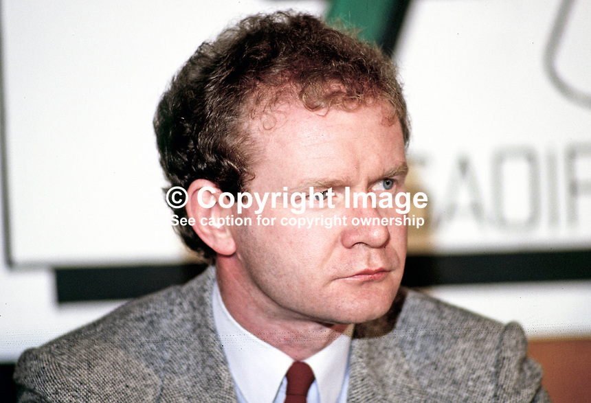 Martin McGuinnesss, Londonderry, prominent member, Provisional Sinn Fein, 19870601MMG.<br /> <br /> Copyright Image from Victor Patterson, 54 Dorchester Park, <br /> Belfast, UK, BT9 6RJ<br /> <br /> t1: +44 28 9066 1296 (from Rep of Ireland 048 9066 1296)<br /> t2: +44 28 9002 2446 (from Rep of Ireland 048 9002 2446)<br /> m: +44 7802 353836<br /> <br /> e: victorpatterson@me.com<br /> www.victorpatterson.com<br /> <br /> Please see my Terms and Conditions of Use at www.victorpatterson.com. It is IMPORTANT that you familiarise yourself with them.<br /> <br /> Images used on the Internet must be visibly watermarked i.e. &copy; Victor Patterson<br /> within the body of the image and copyright metadata must not be deleted. Images <br /> used on the Internet have a size restriction of 4kbs and will be chargeable at current<br />  NUJ rates unless agreed otherwise.<br /> <br /> This image is only available for the use of the download recipient i.e. television station, newspaper, magazine, book publisher, etc, and must not be passed on to any third <br /> party. It is also downloaded on condition that each and every usage is notified within 7 days to victorpatterson@me.com<br /> <br /> The right of Victor Patterson to be identified as the author is asserted in accordance with The Copyright Designs And Patents Act (1988). All moral rights are asserted