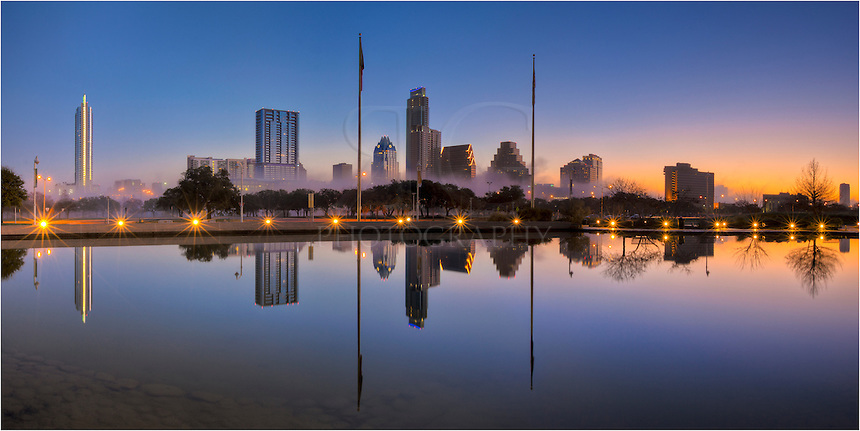 Fog envelopes the Austin Skyline in the early morning hours.