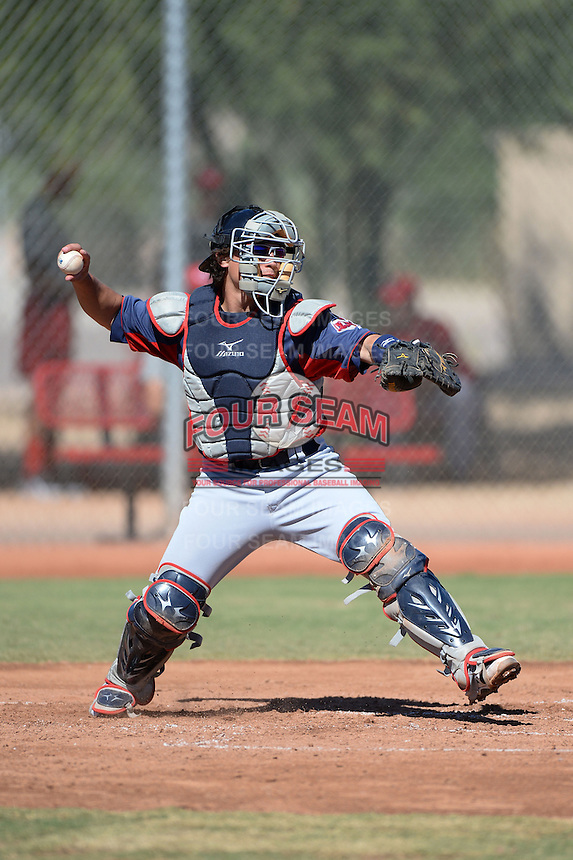 Cleveland Indians catcher Tony Wolters (2) during an instructional league game against the Cincinnati Reds on September 28, 2013 at Goodyear Training Complex in Goodyear, Arizona.  (Mike Janes/Four Seam Images)