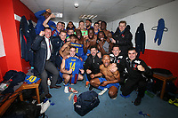 Maldon players celebrate  victory in the dressing room during Leyton Orient vs Maldon & Tiptree, Emirates FA Cup Football at The Breyer Group Stadium on 10th November 2019