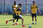 Getafe's Djene Dakonam, Jason Remeseiro and Hugo Duro during training session. May 25,2020.(ALTERPHOTOS/Acero)