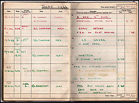 BNPS.co.uk (01202 558833)<br /> Pic: IAA/BNPS<br /> <br /> Logbook for D-Day 'Special Operation' and the following weeks showing raids on the Pas du Calais, Watten 'P' plane nest, and U-boat pens at Le Havre. <br /> <br /> A fascinating and historic logbook and photographs from a Dambuster's hero who also went on many other famous raids during WW2 has come light. <br /> <br /> The remarkable collection belonged to Flight Sergeant Leonard Sumpter who was a bomb aimer on the iconic Dam's mission and put together a unique scrapbook of his thrilling wartime career in Bomber Command's most famous squadron.<br /> <br /> As well as the bouncing bomb sortie, the ace bomb aimer also dropped Barnes Wallis's later invention of massive Tallboy and Grand Slam 'bunker busting' bombs, the largest non nuclear warheads of the war.<br /> <br /> Only the elite 617 squadron were entrusted with delivering these hugely valuable weapons onto their vital targets, that included U-boat pens, V2 rocket sites and even Hitler's Bavarian hideaway the Eagles Nest.<br /> <br /> Also included are pictures Mr Sumpter took in 1947 during a summer excusion to visit some of the sites he had attacked during the conflict.<br /> <br /> Flt Sgt Sumpter's daughter has decided to put the photo album up for auction together with his logbook and his personal scrapbook.