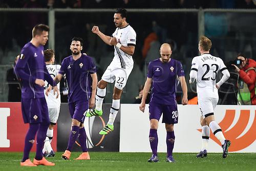 18.02.2016. Florence, Italy. UEFA Europa League football. Fiorentina versus Tottenham Hotspur.    Nacer Chadli Tottenham Goal Celebration  from a penalty kick for 0-1
