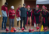 Stanford, CA - March 8, 2020: John Tanner at Avery Aquatic Center. The No. 2 Stanford Women's Water Polo team beat the No. 6 Arizona State Sun Devils 9-8.
