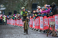 Picture by Allan McKenzie/SWpix.com - 10/12/17 - Cycling - HSBC UK National Cyclo-Cross Championships - Round 5, Peel Park - Bradford, England - Lewis Craven finishes third for Wheelbase Altura.