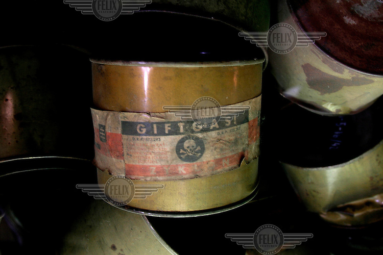 Canister that once contained Zyclone B, used in the gas chambers at the Auschwitz Nazi concentration camp. It is estimated that between 1.1 and 1.5 million Jews, Poles, gypsies and others were killed here in the Holocaust between 1940-1945.