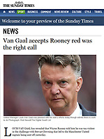 The Sunday Times Website - 'Van Gaal accepts Rooney red was the right call' - Photo by Rob Newell (Digital South)