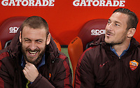Calcio, Serie A: Roma vs Inter. Roma, stadio Olimpico, 19 marzo 2016.<br /> Roma&rsquo;s Daniele De Rossi, left, and Francesco Totti sit on the bench during the Italian Serie A football match between Roma and FC Inter at Rome's Olympic stadium, 19 March 2016. The game ended 1-1.<br /> UPDATE IMAGES PRESS/Isabella Bonotto