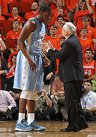 North Carolina head coach Roy Williams talks with North Carolina forward Joel James (42) during an NCAA basketball game Monday Jan. 20, 2014 in Charlottesville, VA. Virginia defeated North Carolina 76-61.