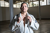 USA, Oahu, Hawaii, portrait of Jujitsu Martial Arts fighter Keith Chang at the ICON grappling tournament in Honolulu