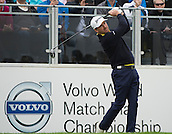 15.10.2014. The London Golf Club, Ash, England. The Volvo World Match Play Golf Championship.  Day 1 group stage matches.  Graeme McDowell (NIR)  tee shot on the first hole in his match against Alexander Levy [FRA].