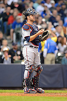 Minnesota Twins catcher Joe Mauer #7 during a game against the Milwaukee Brewers at Miller Park on May 27, 2013 in Milwaukee, Wisconsin.  Minnesota defeated Milwaukee 6-3.  (Mike Janes/Four Seam Images)