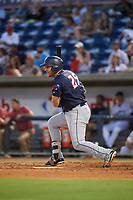 Jacksonville Jumbo Shrimp first baseman Eric Jagielo (25) follows through on a swing during a game against the Pensacola Blue Wahoos on August 15, 2018 at Blue Wahoos Stadium in Pensacola, Florida.  Jacksonville defeated Pensacola 9-2.  (Mike Janes/Four Seam Images)