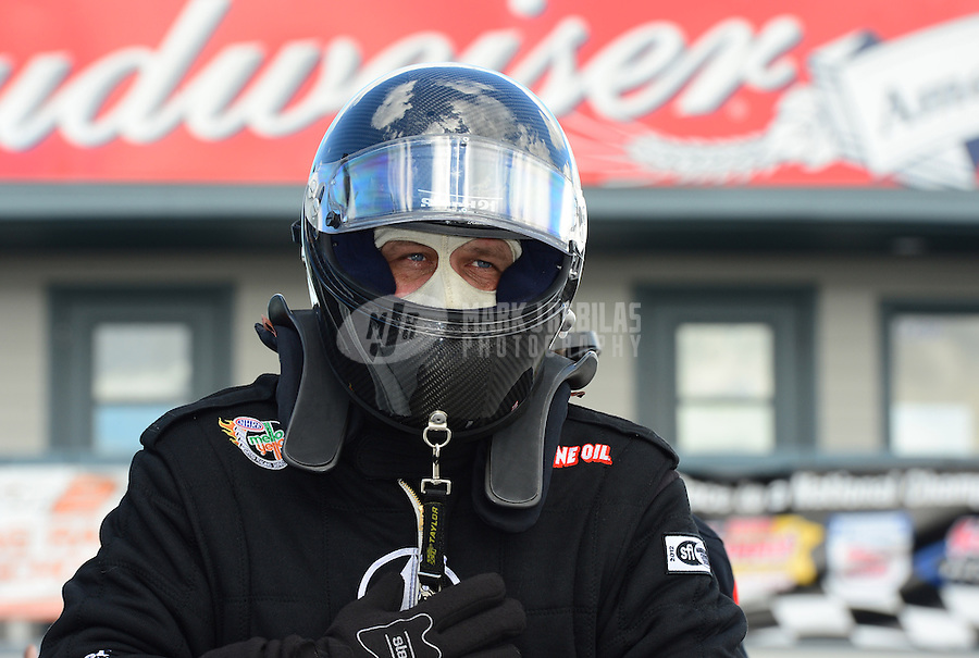 Jan. 16, 2013; Jupiter, FL, USA: NHRA funny car driver Chad Head during testing at the PRO Winter Warmup at Palm Beach International Raceway.  Mandatory Credit: Mark J. Rebilas-
