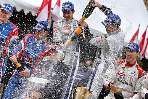 19.01.2014. Monte Carlo, Monaco. The WRC Monte Carlo rally conclusion.  PODIUM picture shows the flowing champagne as S. OGIER<br />