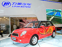 China's Lifan automaker displays its 320 car, which looks like Mini Cooper, during Shanghai Motor Show, in Shanghai, China, on April 20, 2009. Shanghai auto show opened Monday for the press and will be open April 24-28 for the public. China is the only major auto market still growing despite the global economic slowdown. U.S. and global auto makers see China as the place where they can find the sales they desperately lack in their home market. Chinese automakers see the opportunity to assess themselves as major players in the world market. Photo by Lucas Schifres/Pictobank
