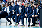 Real Madrid coach Pablo Laso with his assistants during Turkish Airlines Euroleague match between Real Madrid and Kirolbet Baskonia at Wizink Center in Madrid, Spain. October 19, 2018. (ALTERPHOTOS/Borja B.Hojas)