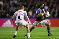 Harlequins' Marland Yarde in action during todays match<br /> <br /> Photographer Bob Bradford/CameraSport<br /> <br /> Aviva Premiership Round 20 - Harlequins v Exeter Chiefs - Friday 14th April 2017 - The Stoop - London<br /> <br /> World Copyright &copy; 2017 CameraSport. All rights reserved. 43 Linden Ave. Countesthorpe. Leicester. England. LE8 5PG - Tel: +44 (0) 116 277 4147 - admin@camerasport.com - www.camerasport.com