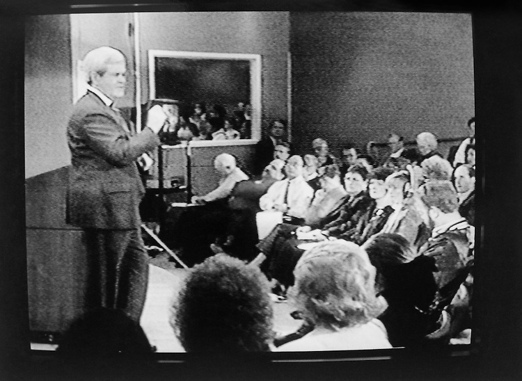 "Speaker of the House Rep. Newton Leroy ""Newt"" Gingrich, R-Ga., House of Representatives Member addressing cabinet members. Febuary 1995 (Photo by CQ Roll Call)"