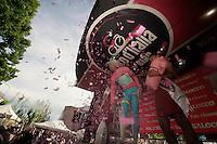 2013 Giro d'Italia.stage 13: Busseto - Cherasco..pink confetti for Vincenzo Nibali (ITA)
