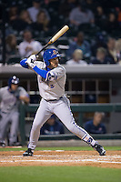 Dayron Varona (3) of the Durham Bulls at bat against the Charlotte Knights at BB&T BallPark on April 14, 2016 in Charlotte, North Carolina.  The Bulls defeated the Knights 2-0.  (Brian Westerholt/Four Seam Images)