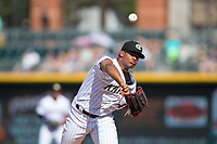Charlotte Knights starting pitcher Reynaldo Lopez (40) delivers a pitch to the plate against the Gwinnett Braves at BB&T BallPark on July 16, 2017 in Charlotte, North Carolina.  The Knights defeated the Braves 5-4.  (Brian Westerholt/Four Seam Images)
