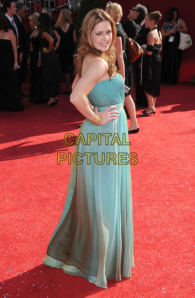 JENNA FISCHER .60th Annual Primetime Emmy Awards held at the Nokia Theatre, Los Angeles, California, USA,  21 September 2008..emmys red carpet arrivals full length  green blue ombre dress print tie de  hands on hips strapless side back over shoulder .CAP/ADM/BP.©Byron Purvis/Admedia/Capital PIctures