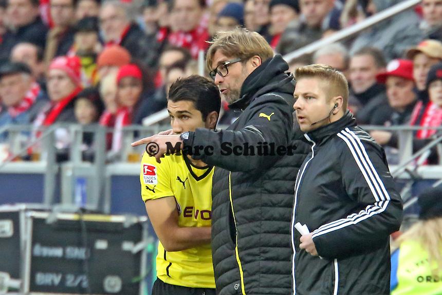 Nuri Sahin (BVB) mit Trainer Jürgen Klopp - 1. FSV Mainz 05 vs. Borussia Dortmund, Coface Arena, 14. Spieltag
