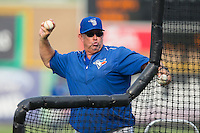 Bluefield Blue Jays manager Dennis Holmberg (34) throws batting practice prior to the game against the Burlington Royals at Burlington Athletic Park on July 1, 2015 in Burlington, North Carolina.  The Royals defeated the Blue Jays 5-4. (Brian Westerholt/Four Seam Images)