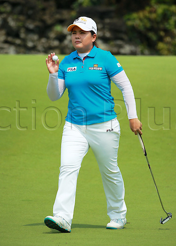 06.03.2014. Haikou, China; Inbee Park of South Korea tees off on 9th hole during round one of the World Ladies Championship at Mission Hills Blackstone Course.