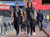(L-R) Diego Costa and David Luiz of Chelsea arrive prior to the Premier League match between Swansea City and Chelsea at The Liberty Stadium on September 11, 2016 in Swansea, Wales.