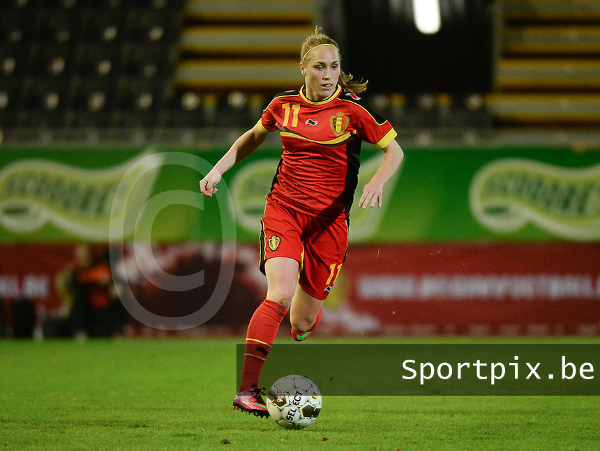 20140410 - LEUVEN , BELGIUM : Belgian Janice Cayman pictured during the female soccer match between Belgium and Norway, on the seventh matchday in group 5 of the UEFA qualifying round to the FIFA Women World Cup in Canada 2015 at Stadion Den Dreef , Leuven . Thursday 10th April 2014 . PHOTO DAVID CATRY