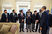 United States President Barack Obama greets veterans of the 2nd Ranger Infantry Company (Airborne) in the Oval Office, February 27, 2013. .Mandatory Credit: Pete Souza - White House via CNP