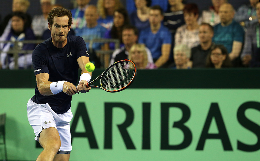 Andy Murray in action during his match against Thanasi Kokkinakis<br /> <br /> Photographer Stephen White/CameraSport<br /> <br /> International Tennis - 2015 Davis Cup by BNP Paribas - World Group Semi-Final - Great Britain v Australia - Day 1 - Friday 18th September 2015 - The Emirates Arena - Glasgow<br /> <br /> &copy; CameraSport - 43 Linden Ave. Countesthorpe. Leicester. England. LE8 5PG - Tel: +44 (0) 116 277 4147 - admin@camerasport.com - www.camerasport.com.
