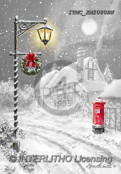 Marcello, CHRISTMAS LANDSCAPES, WEIHNACHTEN WINTERLANDSCHAFTEN, NAVIDAD PAISAJES DE INVIERNO, paintings+++++,ITMCXM2080BW,#XL#