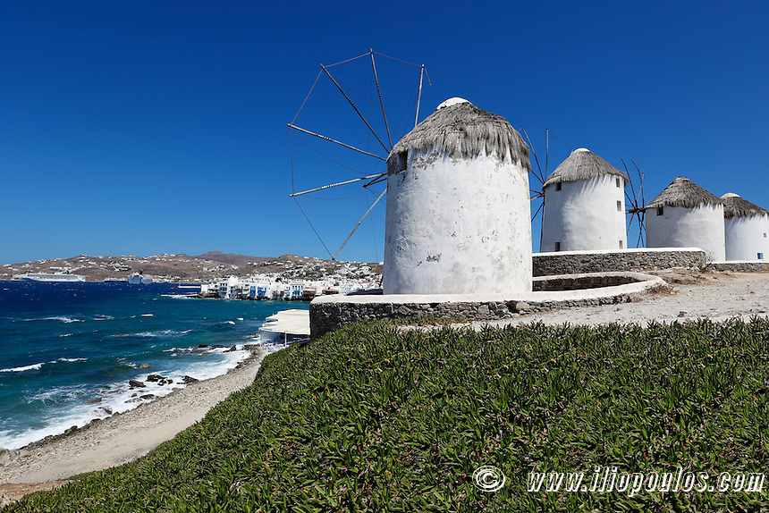 The little Venice behind the famous windmills of Mykonos, Greece