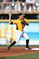 Bradenton Marauders shortstop Max Moroff (31) during a game against the Palm Beach Cardinals on June 23, 2014 at McKechnie Field in Bradenton, Florida.  Bradenton defeated Palm Beach 11-6.  (Mike Janes/Four Seam Images)