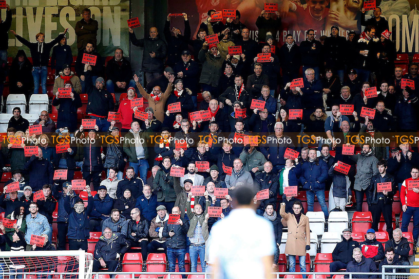 Leyton Orient fans protest with with 'We Want Our Club Back' banners during Leyton Orient vs Blackpool, Sky Bet EFL League 2 Football at the Matchroom Stadium on 19th November 2016