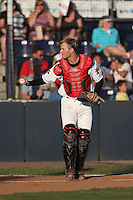 Ryan Hissey (9) of the Vancouver Canadians in the field at catcher during a game against the Tri-City Dust Devils at Nat Bailey Stadium on July 23, 2015 in Vancouver, British Columbia. Tri-City defeated Vancouver, 6-4. (Larry Goren/Four Seam Images)