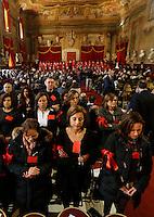 La protesta dei cancellieri durante la cerimonia di Innagurazione anno giudiziario deistrtto Campania <br /> Salone dei Busti Castel Capuano Napoli