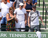 www.acepixs.com<br /> <br /> April 2 2017, Key Biscayne<br /> <br /> Mirka Federer (in the floral dress) watched her husband Roger Federer of Switzerland defeat Rafael Nadal of Spain in the Men's Finals on day 14 of the Miami Open at Crandon Park Tennis Center on April 2, 2017 in Key Biscayne, Florida.<br /> <br /> By Line: Solar/ACE Pictures<br /> <br /> ACE Pictures Inc<br /> Tel: 6467670430<br /> Email: info@acepixs.com<br /> www.acepixs.com