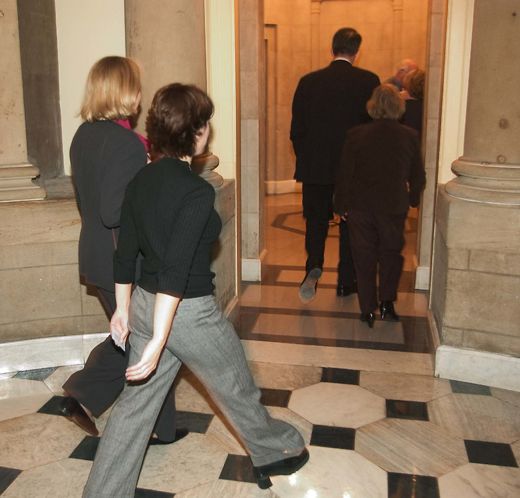 12/07/04.INTELLIGENCE REFORM CONFERENCE REPORT--911 family members walk into the office of House Speaker J. Dennis Hastert, R-Ill., with Reps. Christopher Shays, R-Conn., and Carolyn B. Maloney, D-N.Y. before the vote on the intelligence reform bill in the House..CONGRESSIONAL QUARTERLY PHOTO BY SCOTT J. FERRELL
