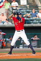 Aaron Judge (35) of the Charleston RiverDogs at bat against the Greenville Drive at Joseph P. Riley, Jr. Park on May 26, 2014 in Charleston, South Carolina.  The Drive defeated the RiverDogs 11-3.  (Brian Westerholt/Four Seam Images)
