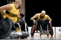 Michael Ozanne (AUS) vs GB<br /> Australian Wheelchair Rugby Team<br /> 2018 IWRF WheelChair Rugby <br /> World Championship / Semi Finals<br /> Sydney  NSW Australia<br /> Thursday 9th August 2018<br /> © Sport the library / Jeff Crow / APC