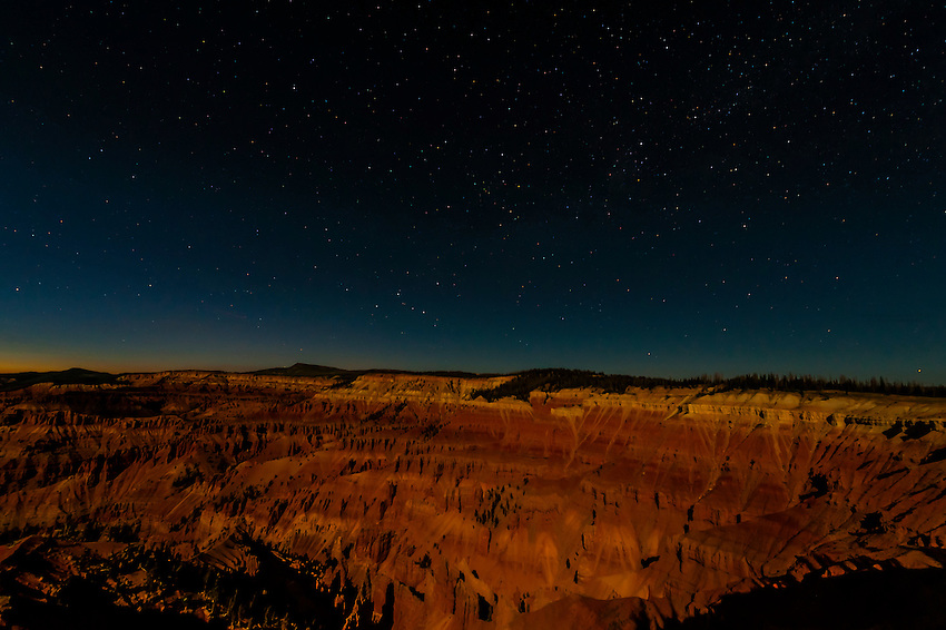 Night view with a starry sky of the Amphitheater, Cedar Breaks National Monument, Utah USA.