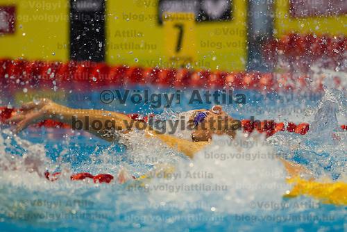 Jonatan Kopelev of Israel competes in the Men's 50m Backstroke of the 31th European Swimming Championships in Debrecen, Hungary on May 23, 2012. ATTILA VOLGYI